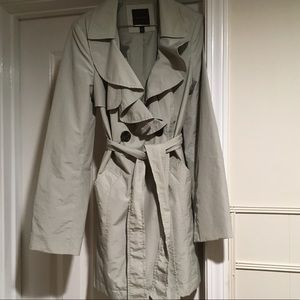 Grey ruffled trench coat